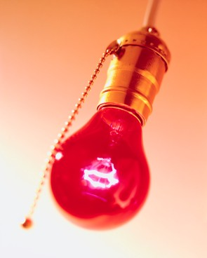 Red Lightbulb in Fixture