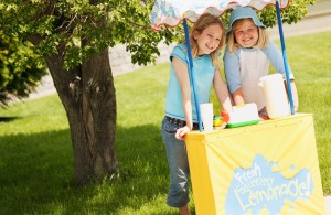 Girls Running Lemonade Stand