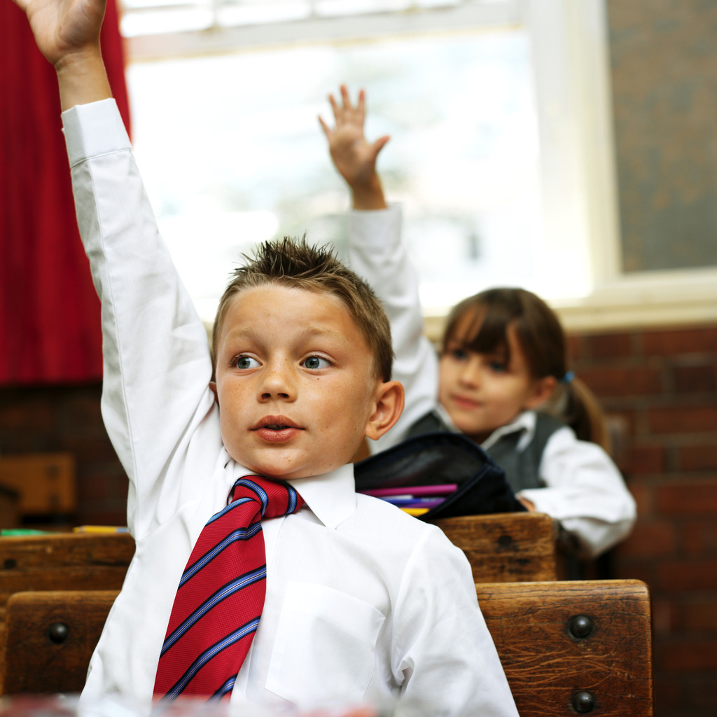 Young Boy at School Raising His Hand to Answer in Class
