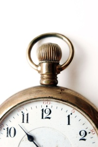 Antique pocket watch - closeup on very old pocket watch
