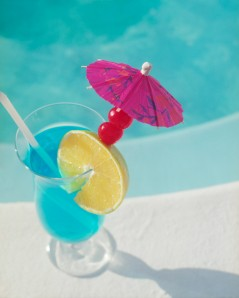 Tropical Drink by a Swimming Pool